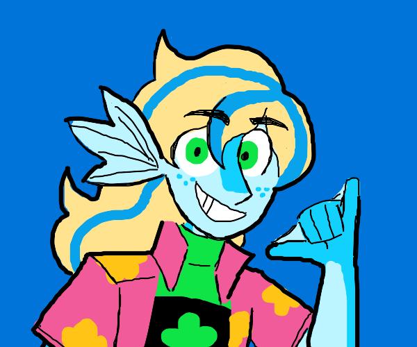 cool fish surfer girl
