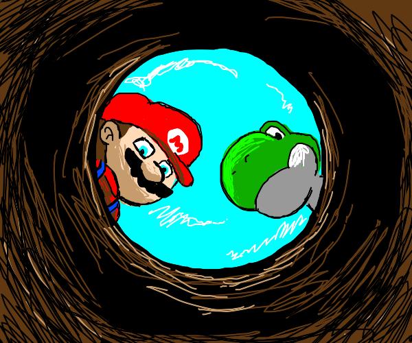 POV: yoshi and Mario gaze at you in a hole