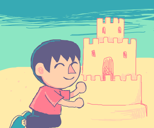 Villager (animal crossing) playing in sand