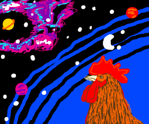 a beautifully dawn chicken gazing into space
