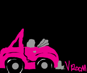 pink car with no top going VROOM