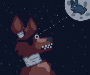 Foxy stares at the rabbit in the moon