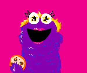 Purple Star Eyed Blond Female Cookie Monster