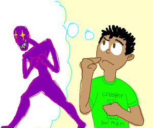 Person thinks of a creepy purple guy