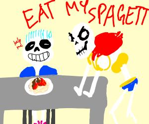 paparus wants sans to eat his spagett