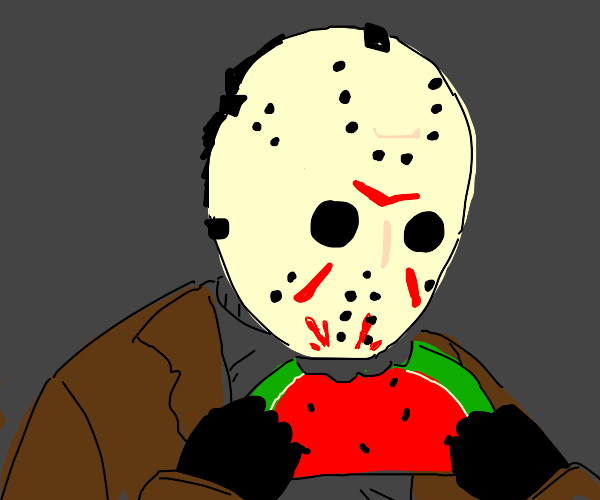 Psycho eats watermelone slice