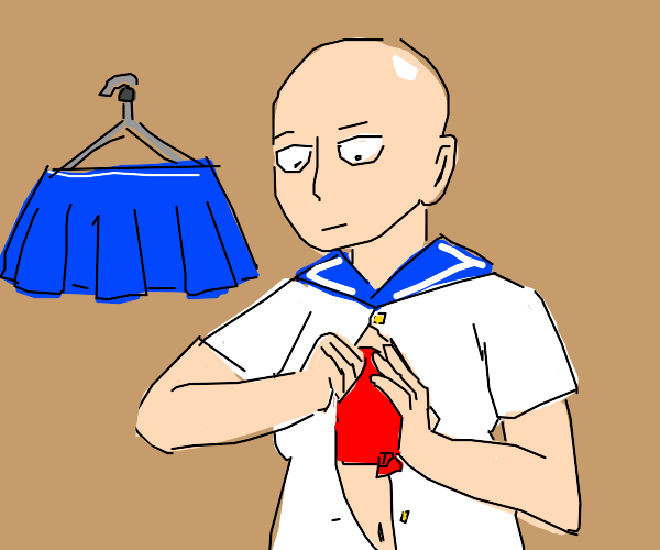 saitama cosplaying as a school girl