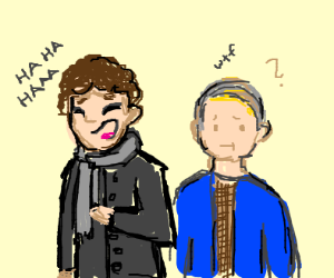 sherlock holmes laughing, dr watson concerned