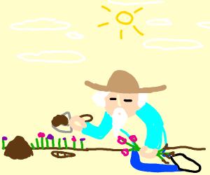 Elderly person doing some gardening