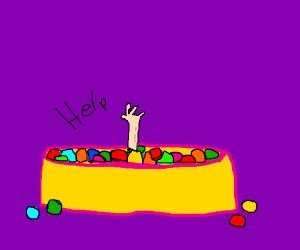 Old man in a ball pit