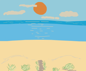 a sun over the beach