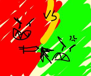 red vs green