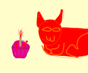 A red animal presenting a cupcake