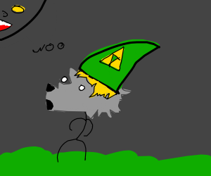 Zelda as a wolf howling at the moon