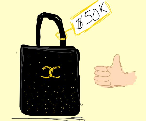 spending his life savings on a black bag