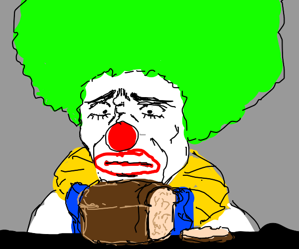 clown suspicious of bread