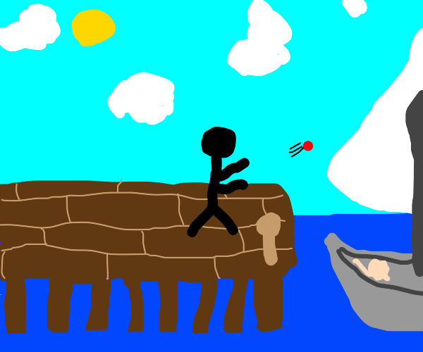stickman tossing ball at sailboat