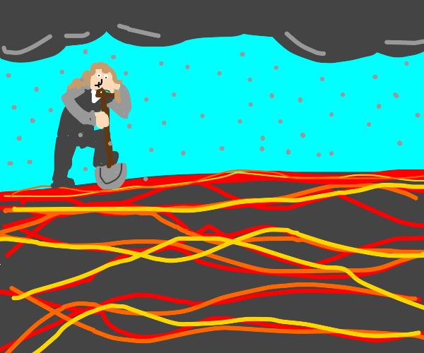 Newton digging into Lava