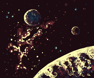 fantasy planet with double moons