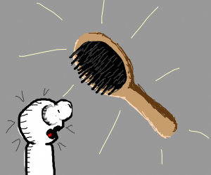 Look at the floating hairbrush!