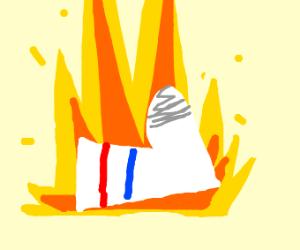 Sock on fire