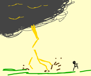 man being chased by thunderclouds