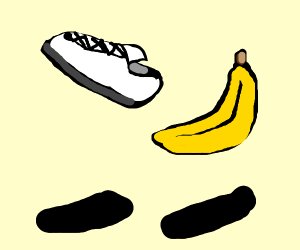 white sneaker and banana float in the air