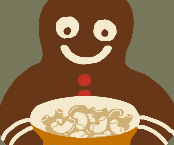 the Gingerbread Man loves mac and cheese