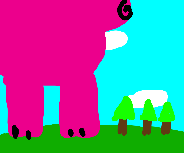 Giant pig and small trees