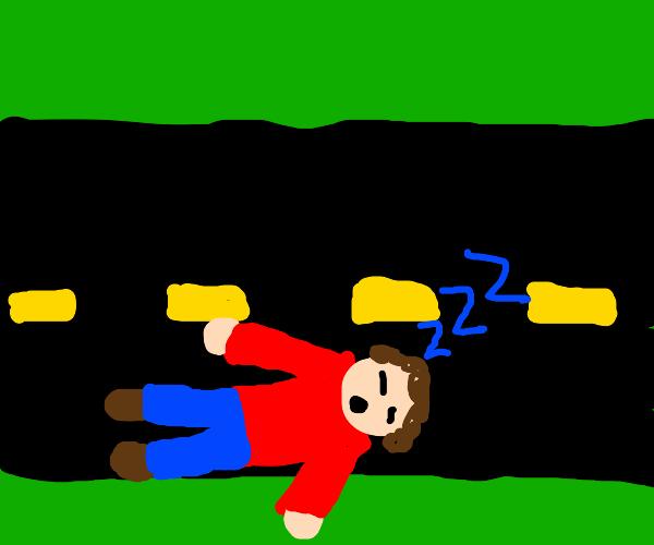 Sleeping on road