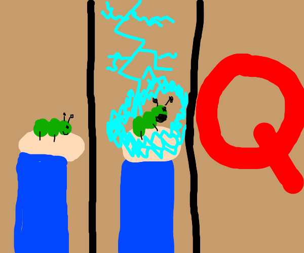 Man holds bug, then lightning hits bug then Q