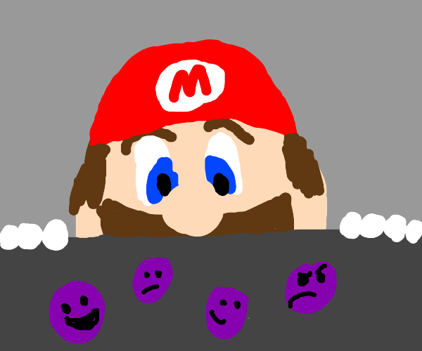 mario looking at loose grapes with faces