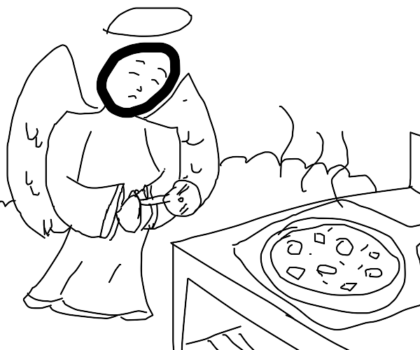 Angel chef prepares to cut the pizza