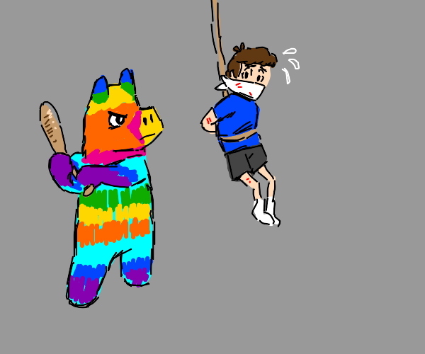 a pinata hitting a kid