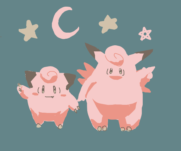 Clefable with a Clefairy
