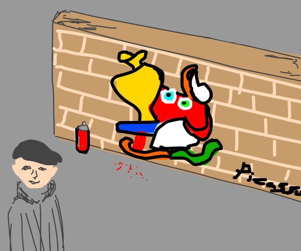 picasso vandalizing wall