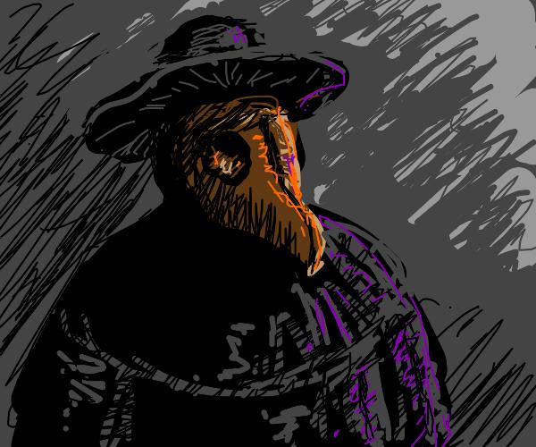 Man wearing plague doctor mask