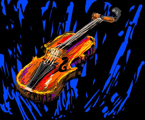 Floating orange violin
