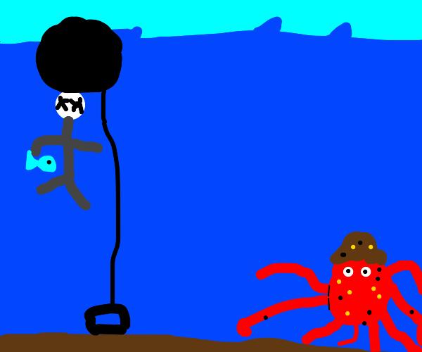 Octopus thief's instant karma - shock balloon