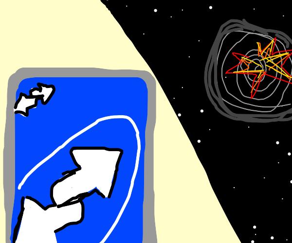 black hole implodes via uno reverse card