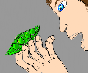 Eating a pod of peas