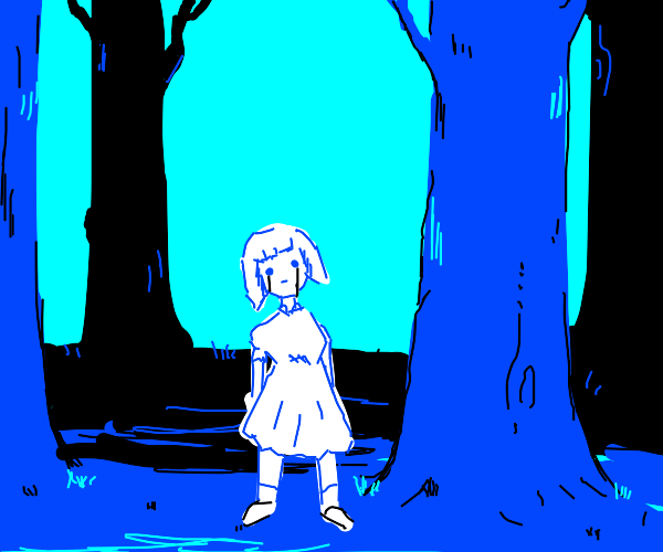 creepy girl in the forest