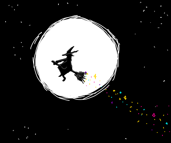 Witch riding a broom with a trail of sparks.