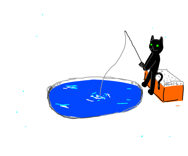 cat ice fishin'