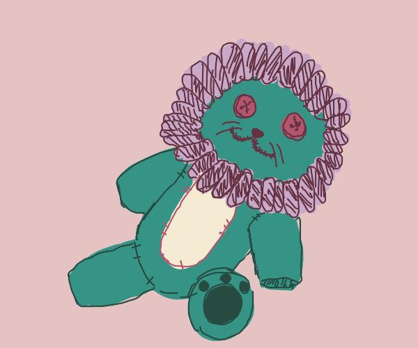 Button-eyed stuffed lion
