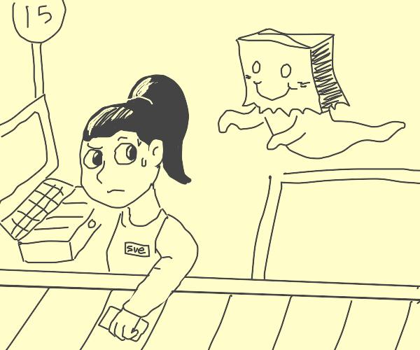 Drawception baghead haunts cashier