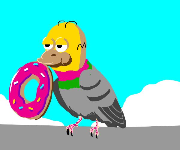 Homer Simpson turns into a bird