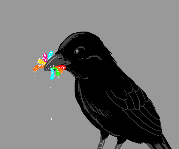 Crow is nomming gummy worms