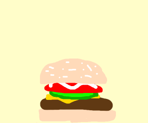 grayscale burger being told to sit