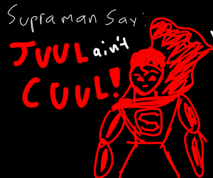 "Superman says ""cool"" but the c is backwards"
